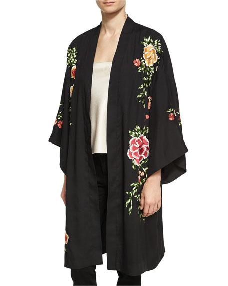 Lupe Embroidered Long Kimono