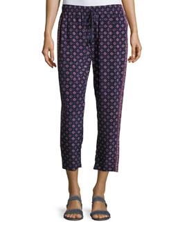 Deidre Printed Drawstring Silk Pants, Blue