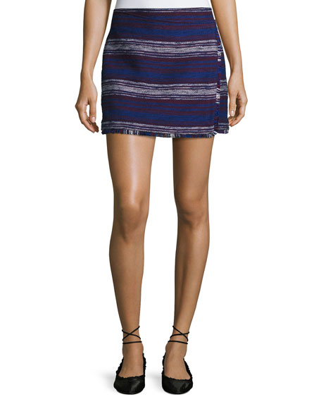 Genae Striped Tweed Fringe Skirt