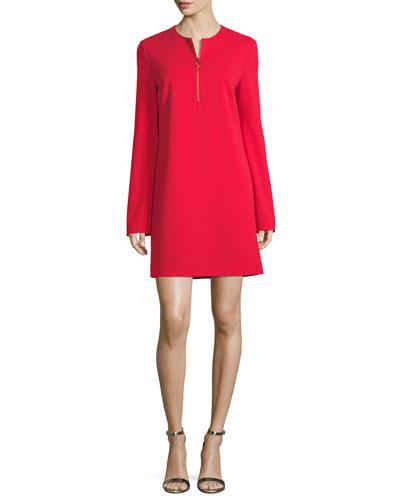 Long-Sleeve Structured Crepe Zip Dress