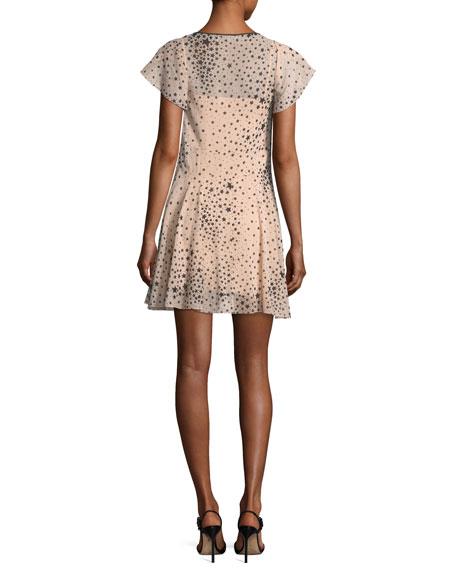 Cape-Sleeve Stardust-Print Stretch-Silk Dress