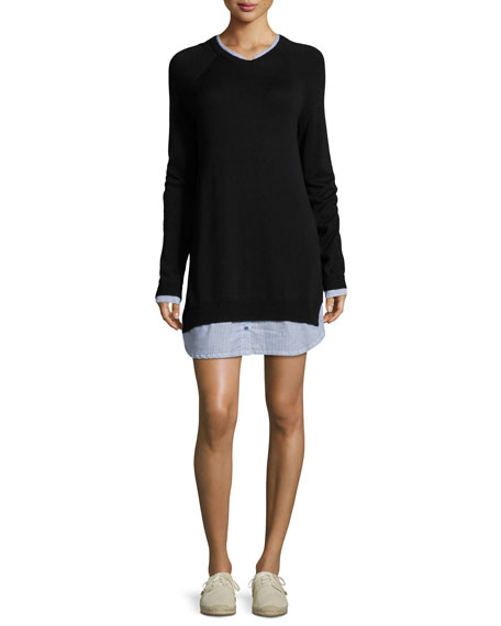 Zaan Long-Sleeve Sweater Dress, Blue
