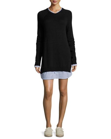 Zaan Long-Sleeve Sweater Dress, Blue