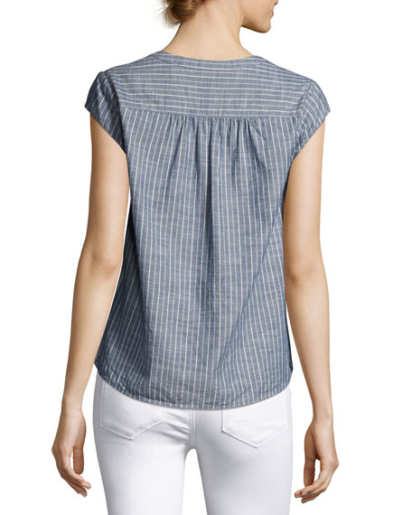 Alania Short-Sleeve Striped Cotton Top, Blue