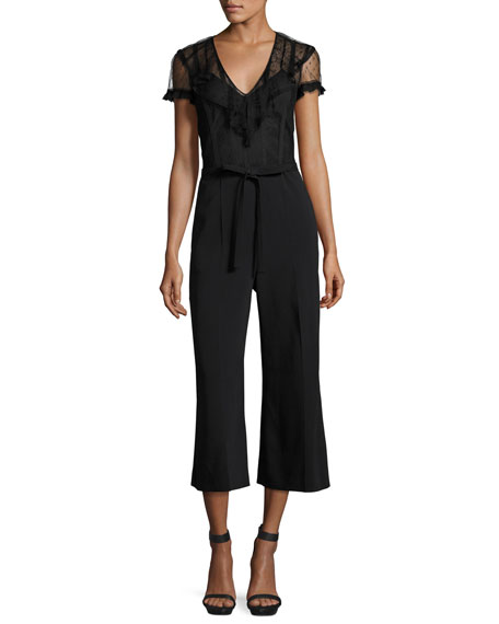 V-Neck Short-Sleeve Jumpsuit w/ Lace