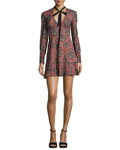 V-Neck Tie Long-Sleeve Printed Silk Mini Dress