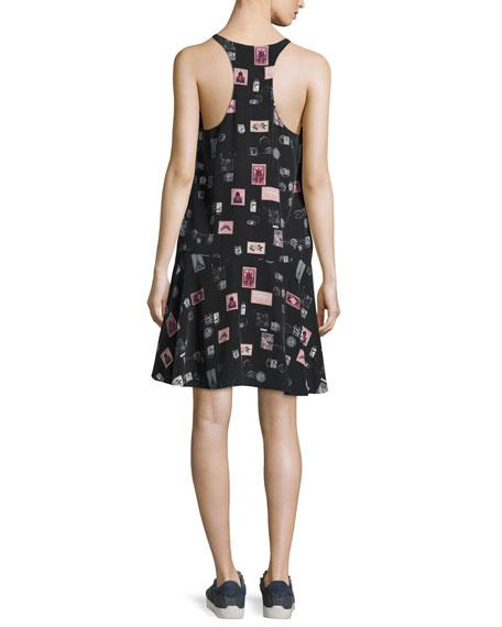 Arianna Sleeveless Stamp-Print Shift Dress, Black