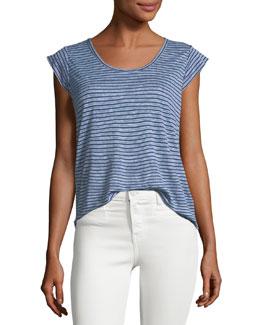 Neyo Cap-Sleeve Striped Linen Top