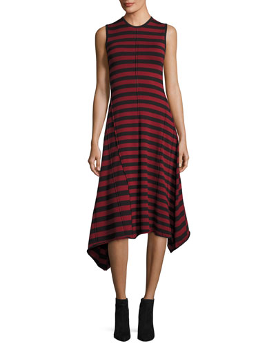 Sleeveless Striped Handkerchief-Hem Dress