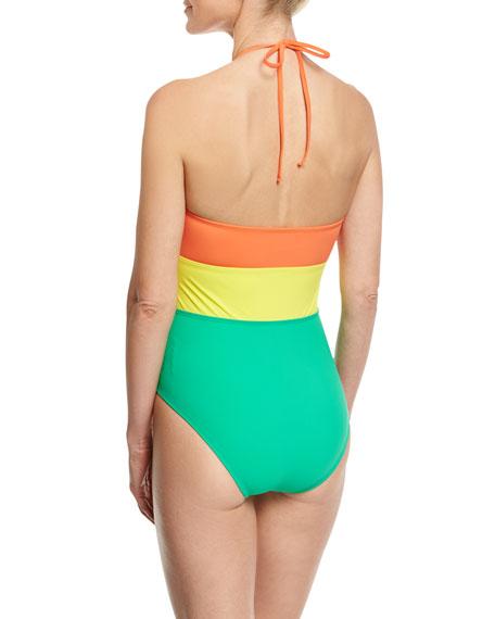 Halter-Neck One-Piece Swimsuit, Orange Yellow Green Multi