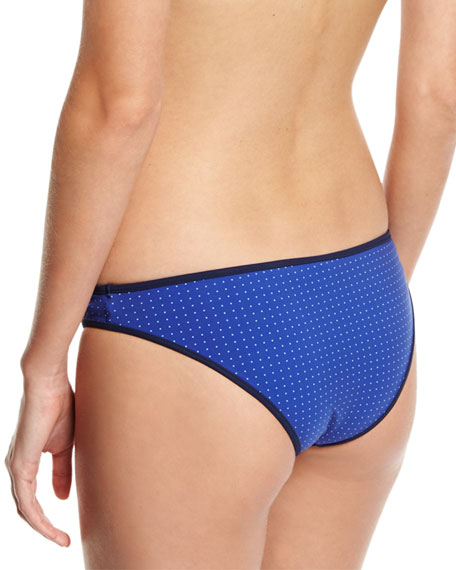 Classic Dotted Bikini Swim Bottom, Blue