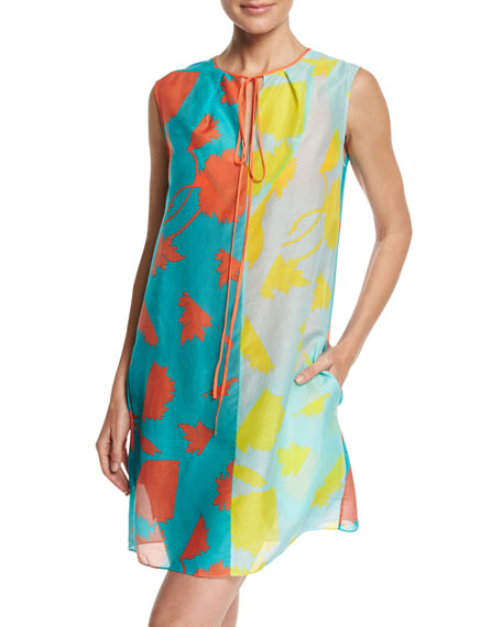 Diane von Furstenberg Sleeveless Tie-Neck Knit Dress, Blue
