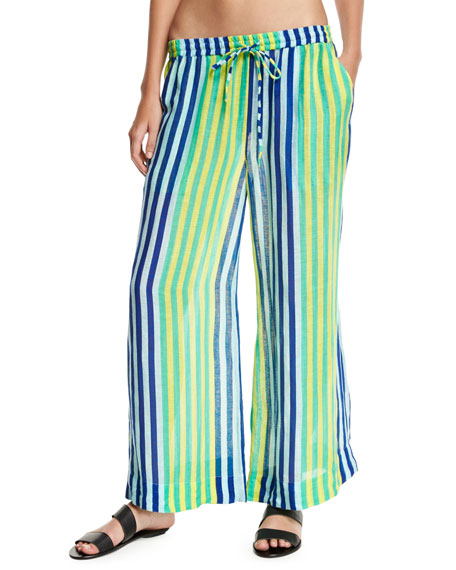 Beach Linen Culotte Pants, Blue Multi
