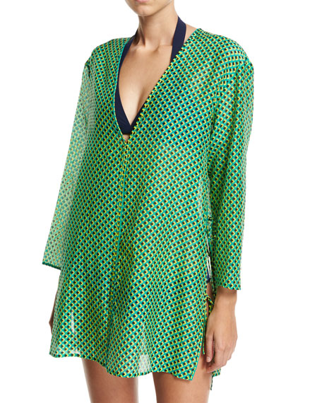 Diane von Furstenberg Long-Sleeve V-Neck Tied Mini Dress,