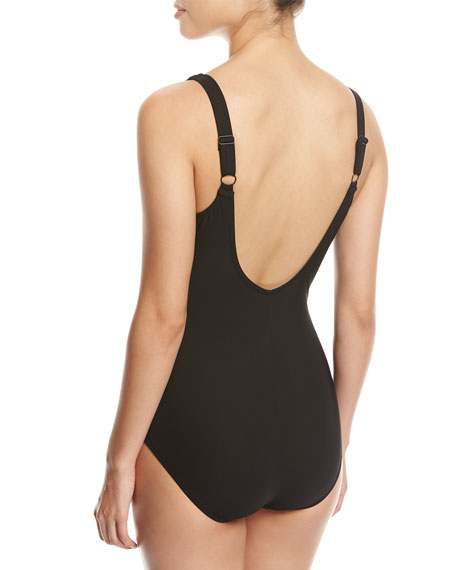 Embrace Surplice Striped One-Piece Swimsuit, Black