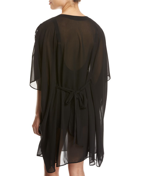Embrace Striped Belt Caftan Coverup, Black