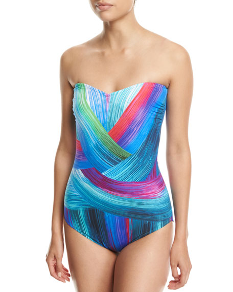 Gottex Festival Bandeau One-Piece Swimsuit, Blue Multi