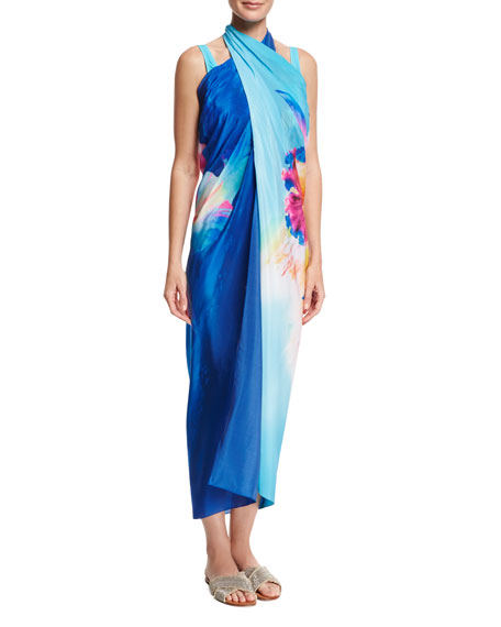Hawaii Pareo Swim Coverup, Blue Multi