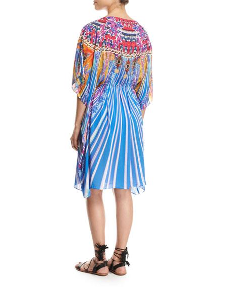 Sarsana Beach Dress Coverup, Blue Multi