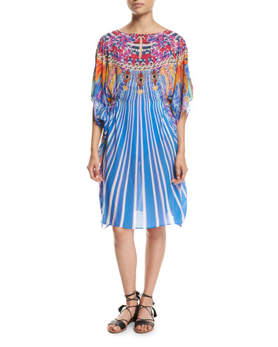 Sarsana Beach Dress Coverup, Blue Multi
