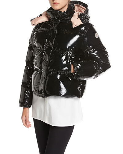 Gaura Shiny Puffer Quilted Coat, Black