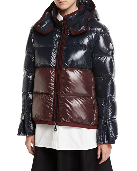 Cotinus Colorblocked Shiny Quilted Down Coat