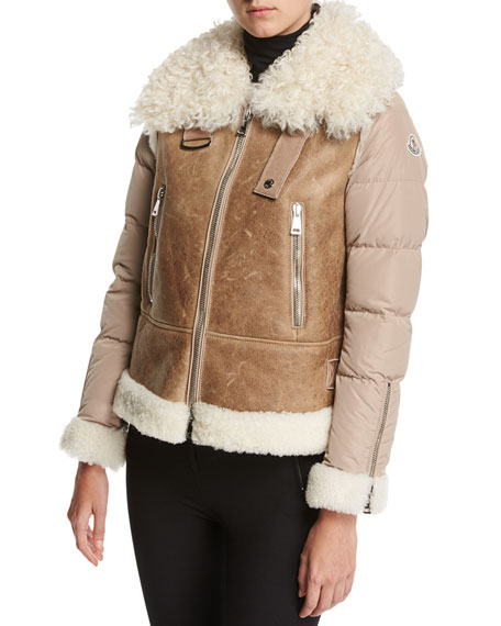 Kilia Mixed-Media Shearling Puffer Coat, Stone