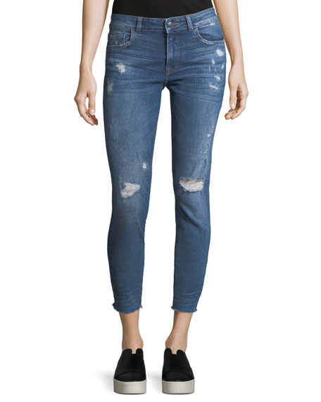 DL 1961 Florence Crop Distressed Skinny Jeans
