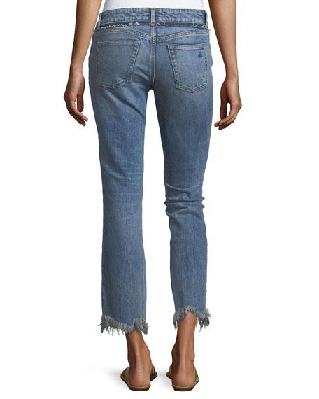 Mara Ankle Straight Jeans w/ Distressed Hem