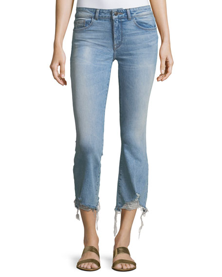 DL 1961 Lara Glacier Crop Flare-Leg Distressed-Hem Jeans