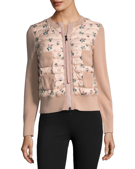 Maglia Floral-Printed Knit Jacket w/ Puffer