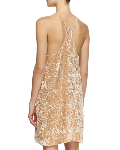 Fierra Tank Velvet Mini Dress, Beige