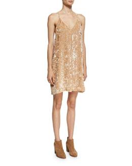 Fierra Tank Velvet Mini Dress, Beige