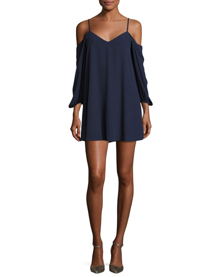 Carli Cold-Shoulder Mini Dress, Blue