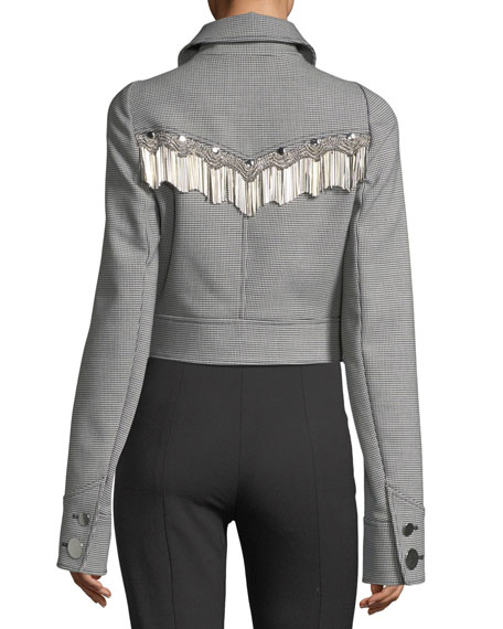 Western Cropped Fringe-Trim Jacket