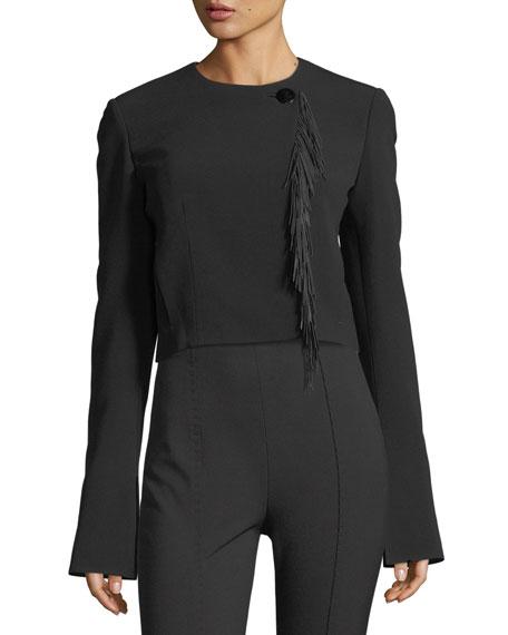 Cropped Leather-Fringe Jacket