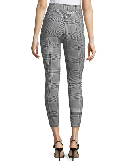 High-Waist Cropped Check Pants