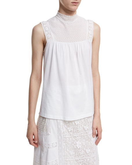 Burberry Piero Sleeveless Lace-Panel Top