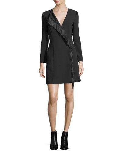 Fringed Long-Sleeve Wrap Dress