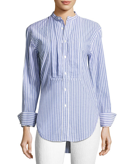 Striped Stand-Collar Shirt with Pintucked Front