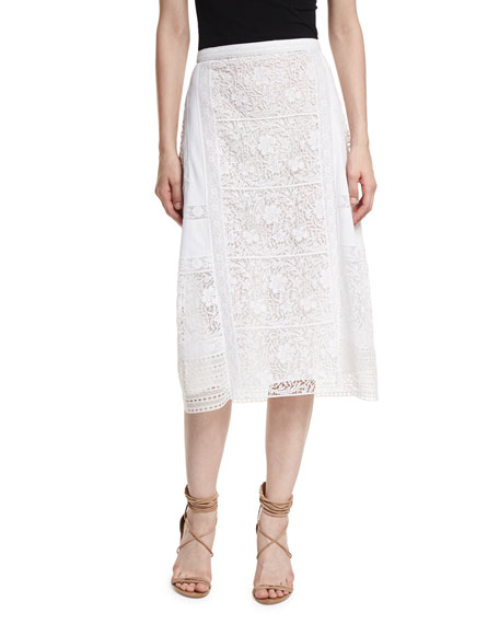 Drin Mixed-Lace Paneled A-line Skirt
