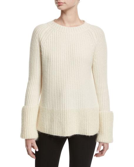 Wide Gauge Crewneck Sweater, White