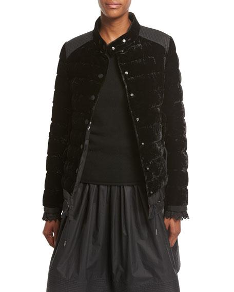 Beatrice Velvet Quilted Coat, Black
