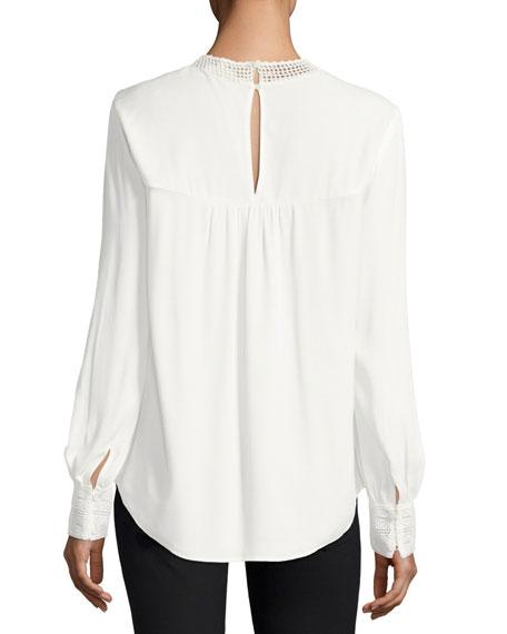 Ilse Long-Sleeve Crochet Blouse, White