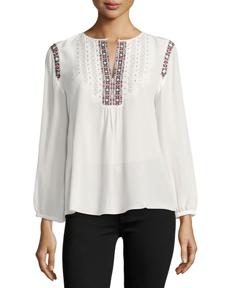 Joie Clema Long-Sleeve Silk Top, White