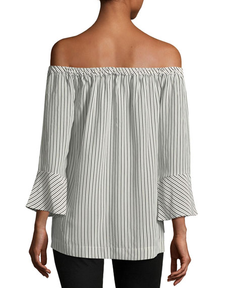 Dinora Off-the-Shoulder Long-Sleeve Striped Silk Top