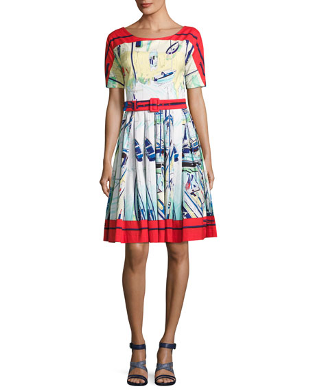 May Sailboat Printed Half-Sleeve A-Line Dress