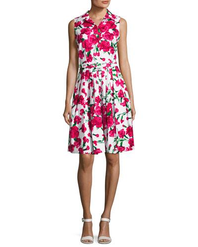 Claire Sleeveless Floral-Print Shirtdress, Pink