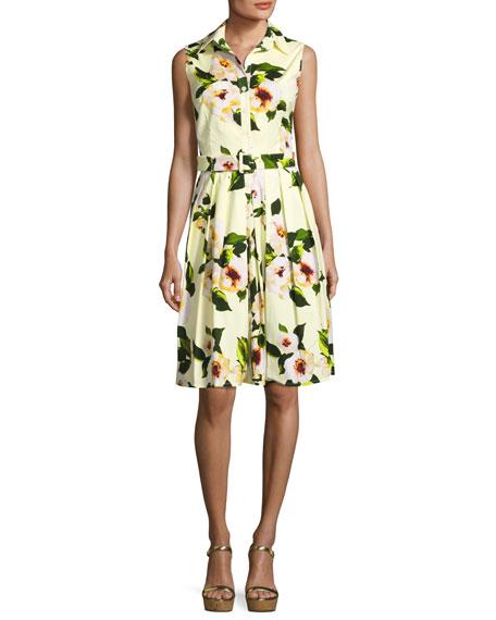 Audrey Paisley-Print Sleeveless Shirtdress, Yellow