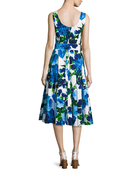 April Floral-Print Sleeveless Dress, Blue/Multi